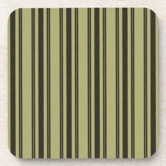 French Khaki Mattress Ticking Black Double Stripe Coaster