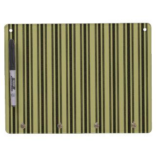 French Khaki Mattress Ticking Black Double Stripe Dry Erase Board With Keychain Holder