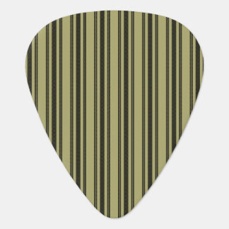 French Khaki Mattress Ticking Black Double Stripe Guitar Pick