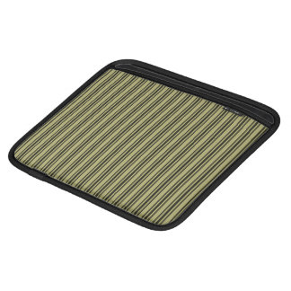 French Khaki Mattress Ticking Black Double Stripe iPad Sleeve