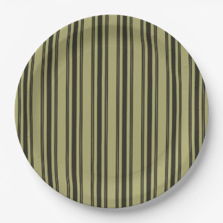 French Khaki Mattress Ticking Black Double Stripe Paper Plate