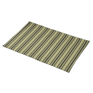 French Khaki Mattress Ticking Black Double Stripe Place Mat
