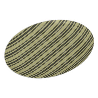 French Khaki Mattress Ticking Black Double Stripe Plate