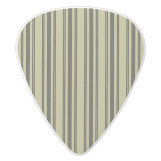 French Khaki Mattress Ticking Black Double Stripe White Delrin Guitar Pick