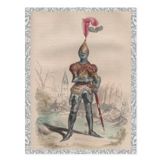 French knight in full plate armor lace postcard