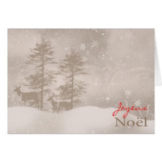 French Language Happy Holidays Stylish Christmas Greeting Card