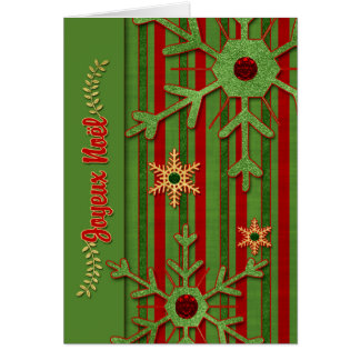 French Language Joyeux Noël - Red and Green Card