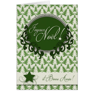 French Language - Retro Green Christmas Trees Card
