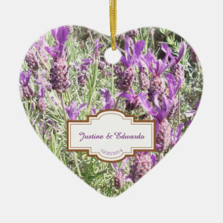 French Lavender Flowers Personalized Wedding Ceramic Ornament