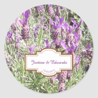 French Lavender Flowers Personalized Wedding Classic Round Sticker