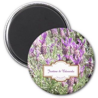 French Lavender Flowers Personalized Wedding Magnet