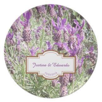 French Lavender Flowers Personalized Wedding Plate
