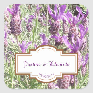 French Lavender Flowers Personalized Wedding Square Sticker