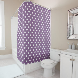French Lilac White Hearts Pattern