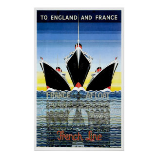 French Line Vintage Ship Advertisement Poster