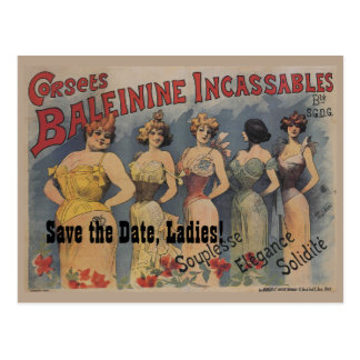 French Lingerie Bridal Shower Theme Save the Date Postcard