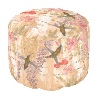 French Love Poetry Wisteria Rose Flowers Floral Pouf