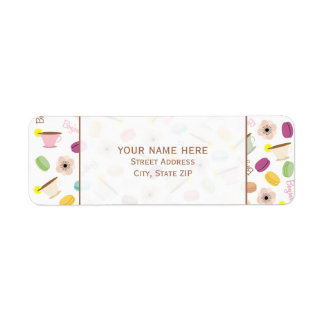 French Macarons Anemones & Teacups Address Label