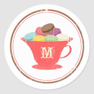 French Macarons In Red Teacup Monogram Sticker