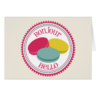 French Macarons Notecard - Bonjour Hello