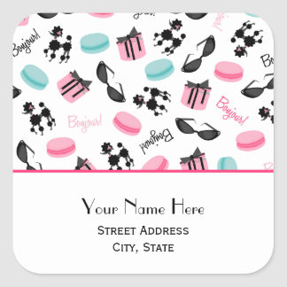 French Macarons & Poodles Address Sticker