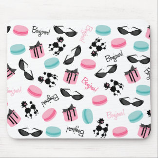 French Macarons Poodles & Sunglasses Mousepad