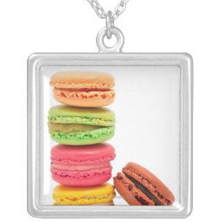French macaroons silver plated necklace