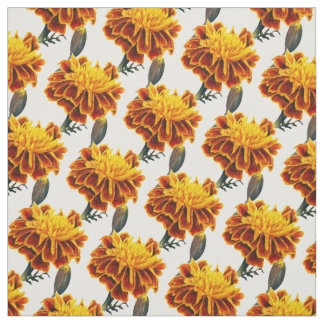 French Marigold golden yellow watercolor fabric