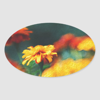French Marigolds Oval Sticker