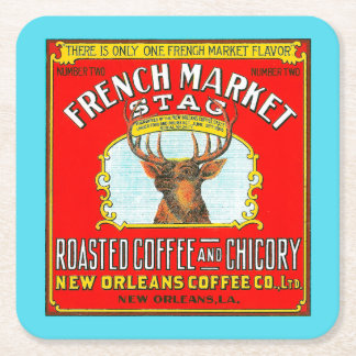 French Market Stag Roasted Coffee and Chicory Square Paper Coaster