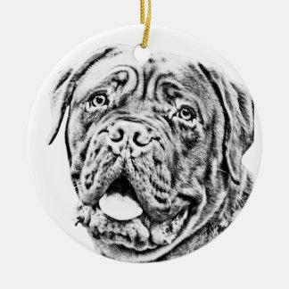 French Mastiff Round Ceramic Ornament