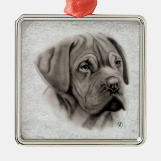 French Mastiff Silver-Colored Square Ornament
