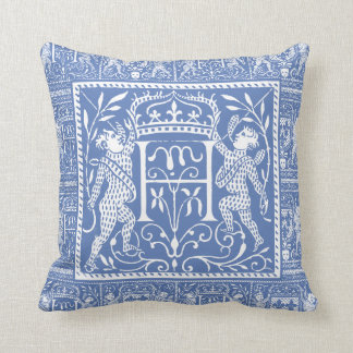 French Medieval Chateau Blue Letter H Throw Pillow