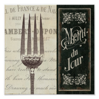 French Menu and Fork Poster