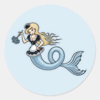 French Mer Maid Round Sticker
