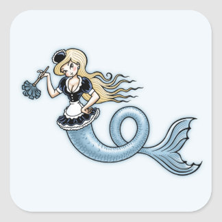 French Mer Maid Square Sticker