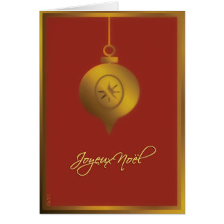 french merry christmas card, glass ornament