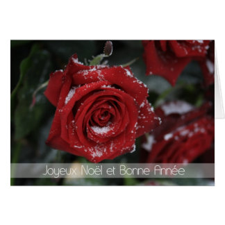 French Merry Christmas-Happy New Year snowy red ro Card