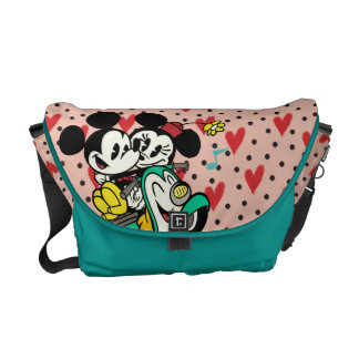 French Mickey   Mickey and Minnie on Vespa Messenger Bags