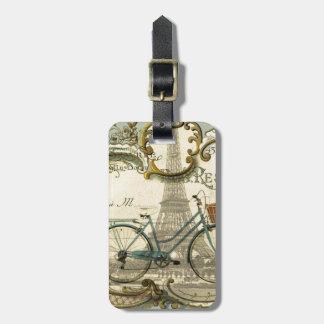 french modern vintage bike paris eiffel tower luggage tag