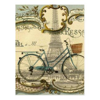 french modern vintage bike paris eiffel tower postcard