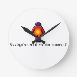 French-Mommy Round Clock
