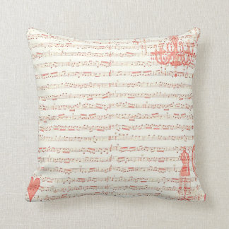 French Music Sheet Pink Throw Pillow