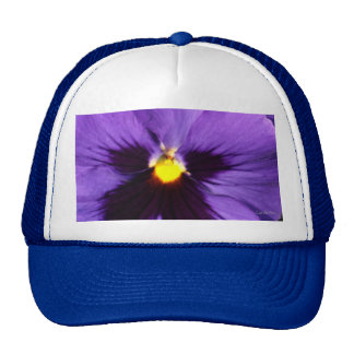 French Navy Blue Pansy Trucker Hat