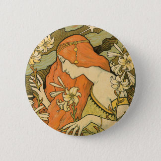 French Nouveau Pinup Girl in Field of Honeysuckles 2 Inch Round Button