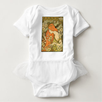 French Nouveau Pinup Girl in Field of Honeysuckles Baby Bodysuit