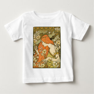 French Nouveau Pinup Girl in Field of Honeysuckles Baby T-Shirt