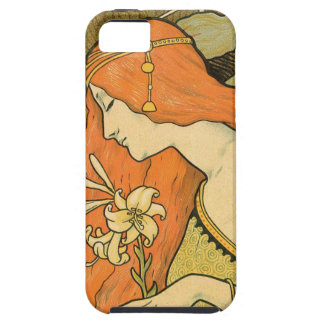 French Nouveau Pinup Girl in Field of Honeysuckles Case For The iPhone 5