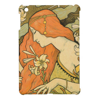 French Nouveau Pinup Girl in Field of Honeysuckles Cover For The iPad Mini
