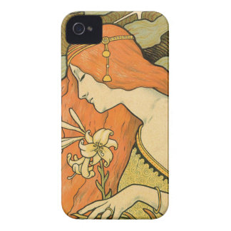 French Nouveau Pinup Girl in Field of Honeysuckles iPhone 4 Case